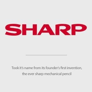 Tên Sharp được lấy tên từ sáng chế đầu tiên của người sáng lập, bút chì cơ khí Eversharp