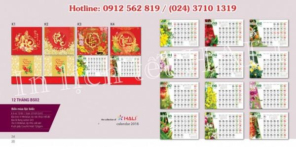 Mẫu lịch treo tường 2020 tại Hali.