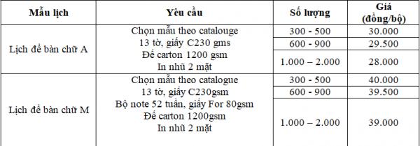 Báo giá mẫu in lịch để bàn 2020 tại Hali.